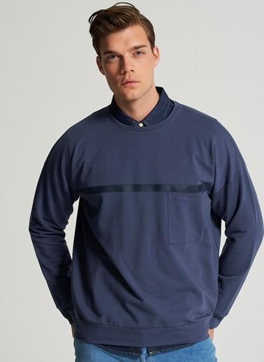 Pi π Cep Ve Baskı Detaylı Sweatshirt İndigo